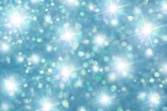 绿色和蓝色闪闪发光星 图库摄影