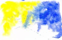黄色和蓝色水彩纹理背景 免版税库存照片