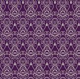 紫色和金子茂盛装饰品样式摘要传染媒介 库存例证