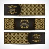 黑色和金横幅 与锦缎样式装饰框架的葡萄酒装饰模板 向量例证