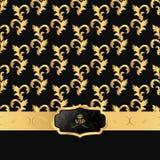 黑色和金背景与一个水平的小条和卵形VIP商标 库存图片