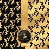 黑色和金背景与垂直的丝带和圆的VIP商标 库存照片