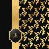 黑色和金背景与垂直的丝带和方形的VIP商标 免版税库存照片