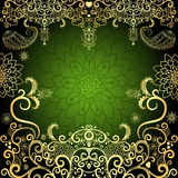 绿色金子葡萄酒花卉框架 图库摄影