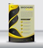 黄色和黑小册子飞行物模板,时事通讯设计,叶子 免版税库存图片