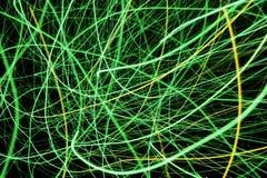 绿色和黄灯显示,色的激光 免版税库存图片