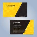 黄色和黑现代名片模板 免版税库存图片