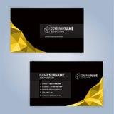 黄色和黑现代名片模板 免版税库存照片
