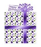 紫色和绿色圆点礼物 库存照片