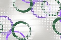 绿色和紫色圈子和小点,抽象背景 图库摄影
