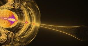 黄色和紫色抽象线曲线微粒背景 免版税库存照片
