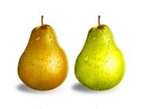 绿色和黄色梨 免版税图库摄影
