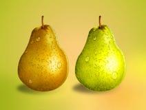 绿色和黄色梨 库存图片