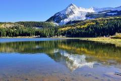 黄色和绿色白杨木、积雪的山和反射高山风景在湖在叶子季节期间 免版税库存图片