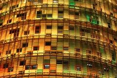 黄色和绿色Agbar塔LED细节 免版税库存照片