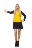 黄色和黑衣物的金发女孩 免版税图库摄影