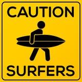 黄色和黑角规与冲浪者的小心标志 库存图片