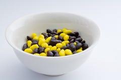 黄色和黑软心豆粒糖 库存照片