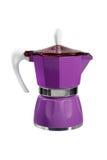 紫色咖啡壶 免版税库存图片