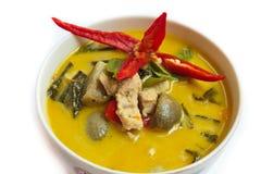 绿色咖喱用猪肉,泰国食物。 库存照片