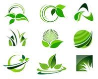 绿色商标集合 免版税库存图片