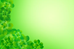 绿色四叶子三叶草/三叶草壁角边界框架背景 免版税图库摄影