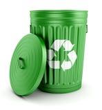 绿色回收与盒盖3d的垃圾箱 免版税库存图片