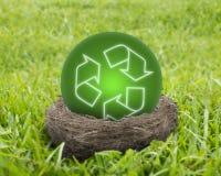 绿色回收在巢的球 免版税库存图片
