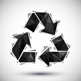 黑色回收在3d现代样式做的几何象,最好u的 免版税库存图片