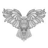 黑色图画老鹰例证墨水猫头鹰向量 成人antistress着色页 免版税库存照片