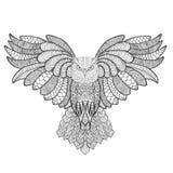 黑色图画老鹰例证墨水猫头鹰向量 成人antistress着色页 库存图片