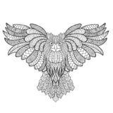 黑色图画老鹰例证墨水猫头鹰向量 成人antistress着色页 免版税库存图片