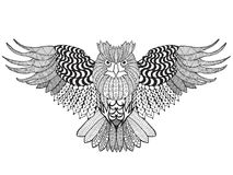 黑色图画老鹰例证墨水猫头鹰向量 库存照片