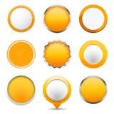 黄色圆的按钮 免版税库存照片