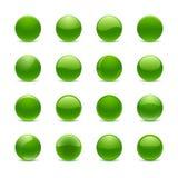 绿色圆的按钮 图库摄影
