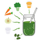 绿色圆滑的人食谱 成份的例证 免版税库存图片