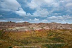 黄色土墩在恶地国家公园 免版税库存照片