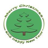 绿色圣诞树的图象在圣诞节和新年 免版税库存图片