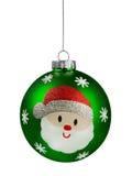 绿色圣诞老人闪烁圣诞节球 免版税库存照片