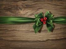 绿色圣诞节弓 库存照片