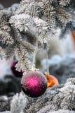 紫色圣诞节球 库存照片