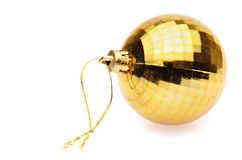 黄色圣诞节球 免版税图库摄影