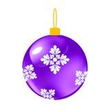 紫色圣诞节装饰球 库存照片