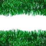 绿色圣诞节闪亮金属片框架 库存照片