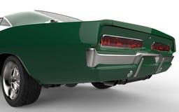绿色在汽车的尾部的肌肉车的焦点 库存图片