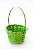 绿色在白色背景的被编织的篮子 图库摄影