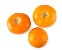 黄色在白色背景隔绝的蕃茄顶视图 免版税库存图片