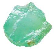 绿色在白色隔绝的方解石矿物石头 免版税库存图片
