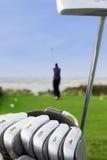 绿色在高尔夫球场 图库摄影