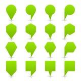 绿色地图别针标志平的地点象网按钮 免版税图库摄影